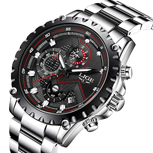 Mens Watches,LIGE Stainless Steel Chronograph Sports Analog Quartz Watch Gents Waterproof Black Dial Date Display Business Casual Luxury Dress Wrist Watch Silver Black