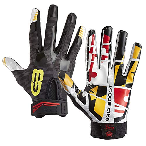 Grip Boost Maryland Flag Football Gloves Stealth Sticky Football Gloves Pro Elite Football Gloves Youth and Adult Sizes (Maryland, Adult X-Large) (Gloves With Grip Football)