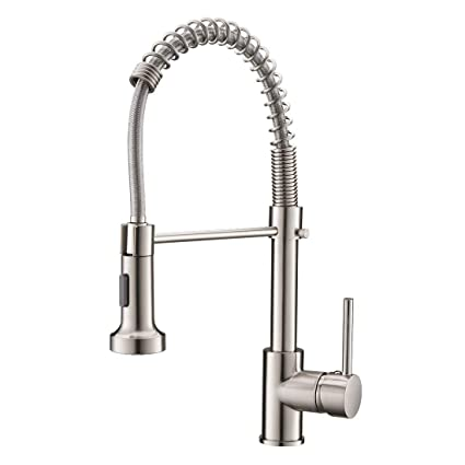 Commercial Pull Down Sprayer Kitchen Sink Faucet Modern Stainless Steel Single Handle Spring Pull Down Kitchen Faucet With Sprayer Brushed Nickel
