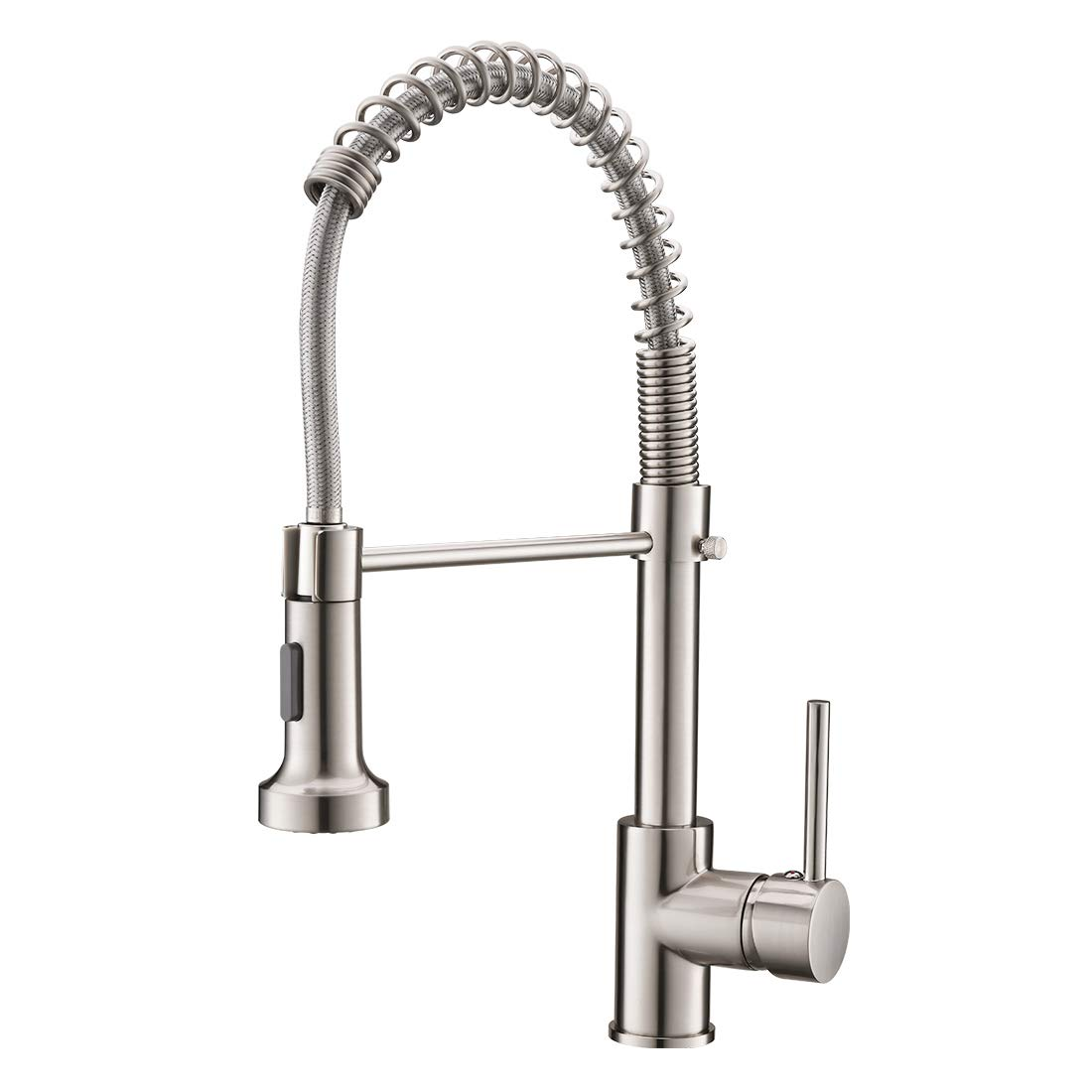 Commercial Pull Down Sprayer Kitchen Sink Faucet,Modern Stainless Steel Single Handle Spring Pull Down Kitchen Faucet with Sprayer,Brushed Nickel