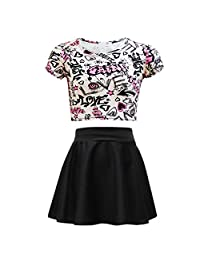 Kids Girls Love Graffiti Crop Top & Black Skater Skirt Set 7 8 9 10 11 12 13 Yr