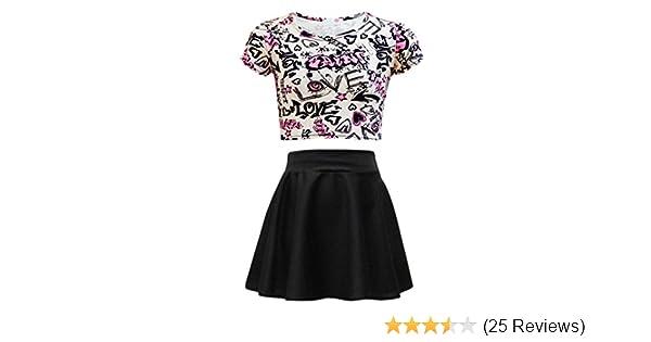 84b0a141b16c4 Amazon.com  Kids Girls Love Graffiti Crop Top   Black Skater Skirt Set 7 8 9  10 11 12 13 Yr  Clothing