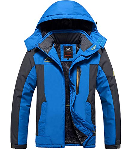 XinDao Mens Plus Size Winter Fleece Windproof Waterproof Ski Coat Mountain Jacket with Detachable Hood Blue US 4XL/Asia 9XL