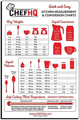 CHEFHQ Kitchen Measuring Conversion Chart Magnet - Magnetic Charts for Baking and Cooking - Tablespoon Measurements, Metric Measurement Conversions, Liquid Measure Equivalents, Meat Temperature Guide 1