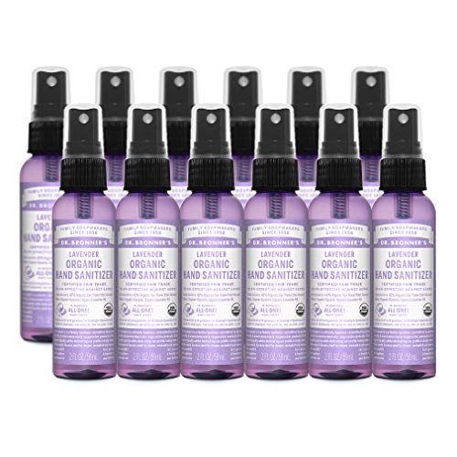 Dr. Bronner's - Organic Hand Sanitizer Spray (Lavender, 2 ounce, 12-Pack) - Simple and Effective Formula, Kills Germs and Bacteria, No Harsh Chemicals, Moisturizes and Cleans Hands from Dr. Bronner's