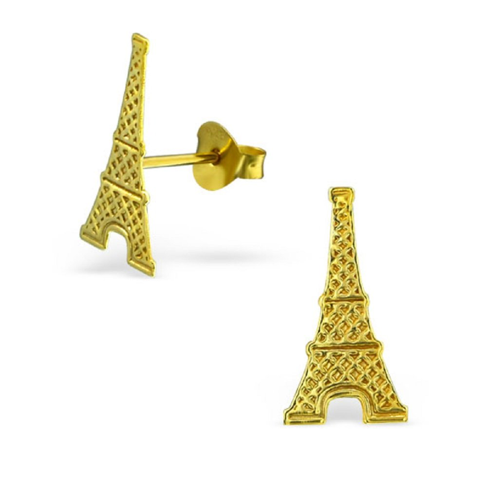 925 Sterling Silver Gold Plated Eiffel Tower Stud Earrings 22104