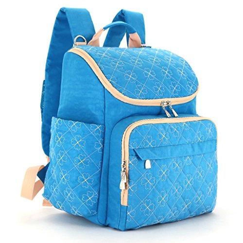 LCY Unisex elegante mochila multifunción cambiador de bebé bolsa mochila con correas para el carrito y cambiador Khaki/Apricot Light Blue/Apricot