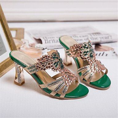LvYuan Mujer-Tacón Bajo Tacón Robusto-Otro Innovador Zapatos del club-Sandalias-Vestido Informal-Purpurina Materiales Personalizados-Negro Oro Green