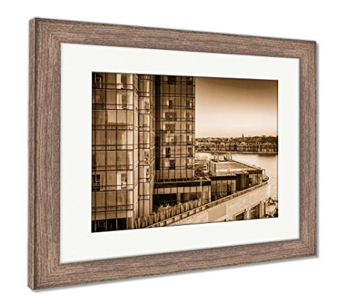 Ashley Framed Prints View Of The Legg Mason Building And Waterfront At Sunset In Bal  Wall Art Home Decoration  Sepia  26X30  Frame Size   Rustic Barn Wood Frame  Ag6330070