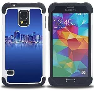 BullDog Case - FOR/Samsung Galaxy S5 I9600 G9009 G9008V / - / The Blue City /- H??brido Heavy Duty caja del tel??fono protector din??mico - silicona suave
