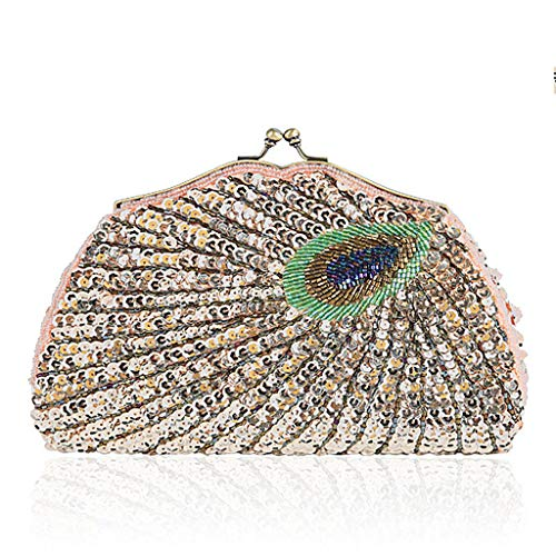 Peacock Vintage Shoulder HBSHE Beaded Shoulder Pack Handbag Bag Evening Women Clutch Cross Leisure Champagne Sequins Wedding Body Bag pnnq1wx