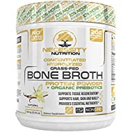 Vanilla Bone Broth Protein Powder - Natural & Pure Paleo/Keto Friendly Gluten Free - Grass Fed Pasture Raised Non GMO - Premium Gut Health Nutrition High Quality Collagen Skin 22 Servings 19.22oz