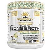 Bone Broth Vanilla Protein Powder - Natural & Pure Paleo/Keto Friendly Gluten Free - Grass Fed Pasture Raised Non GMO - Premium Gut Health