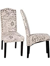 Good Merax Script Fabric Accent Chair Dining Room Chair With Solid Wood Legs,  Beige ,Set