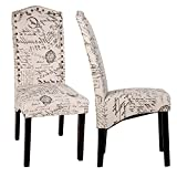 Merax Script Fabric Accent Chair Dining Room Chair with Solid Wood Legs, Beige ,Set of 2