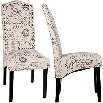 Merax Script Fabric Accent Chair Dining Room With Solid Wood Legs Beige Set Of 2