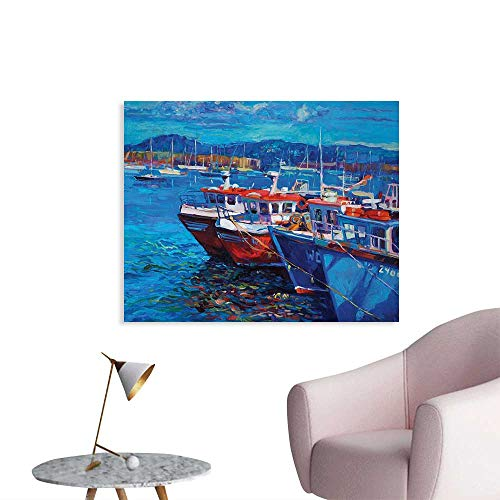Harbor Town Golf - Tudouhoho Country Wall Poster Sail Boats Ships on The Shore Harbor by The Sea Small Rural Fishing Town Art Work Wallpaper Navy Red W36 xL32