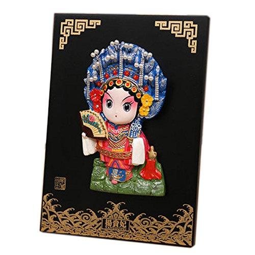 Chinese Opera Mask (HanAn-BeiJing Opera traditional Chinese Gifts Mini Cartoon Peking Opera Mask on Board Culture Pattern Put on Desk Hang on The Wall-Lady Yang)