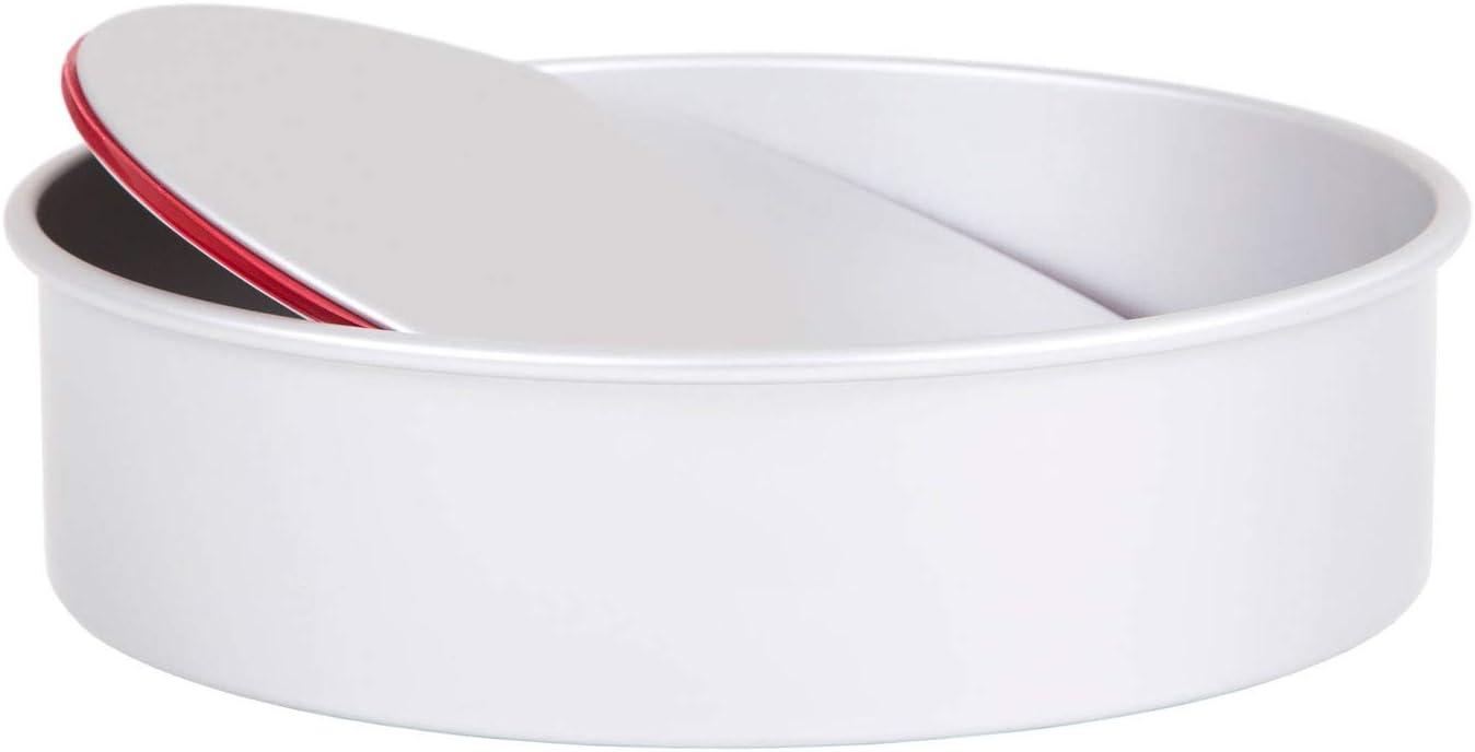 Molde redondo para tartas de PushPan a prueba de derrames con base suelta de aluminio anodizado plateado 5cm Deep 23cm Diameter plateado 9