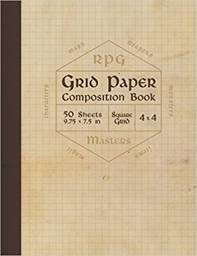 Rpg Grid Paper Composition Book: Blank Quad Ruled Graph Paper For Role Playing Games (50 Sheets, Thick 60 Lb Cream Paper, 1/4 Inch Squares, 9.75 X 7.5) by Amazon