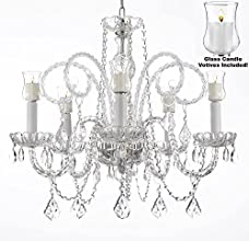 """Crystal Chandelier Lighting Chandeliers W/ Candle Votives H25"""" x W24""""- For Indoor / Outdoor Use! Great for Outdoor Events, Hang from Trees / Gazebo / Pergola / Porch / Patio / Tent !"""