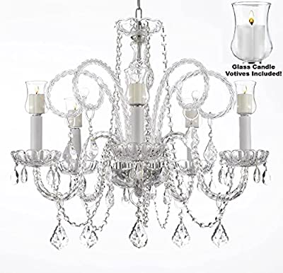 "Crystal Chandelier Lighting Chandeliers W/ Candle Votives H25"" x W24""- For Indoor / Outdoor Use! Great for Outdoor Events, Hang from Trees / Gazebo / Pergola / Porch / Patio / Tent !"