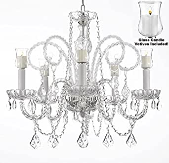 Crystal chandelier lighting chandeliers w candle votives h25 x share facebook twitter pinterest mozeypictures Choice Image