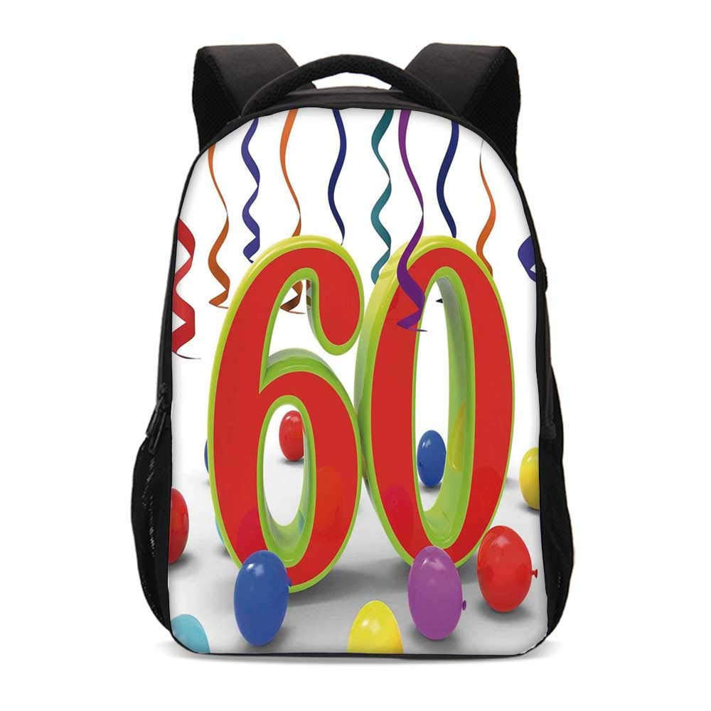60th Birthday Decorations Durable Backpack,Party Confetti Swirls with Baloons and Green Orange 60 Number for School Travel,12.2''L x 5.5''W x 18.5''H