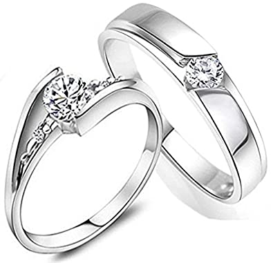 fb7c266f0f521 RM Jewellers CZ 92.5 Sterling Silver American Diamond Classic Loving Couple  Band for Men and Women