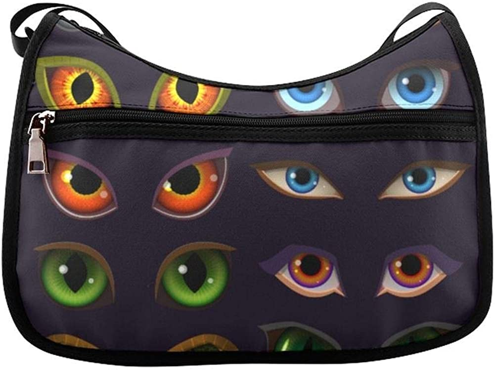 Animals Eyes Glow In The Dark Messenger Bag Crossbody Bag Large Durable Shoulder School Or Business Bag Oxford Fabric For Mens Womens