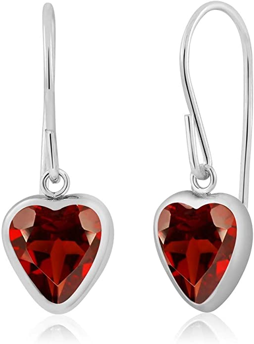 """925 Sterling Silver RED GARNET Stone ANCIENT STYLE Dangle NEW Earrings 1.3/"""""""