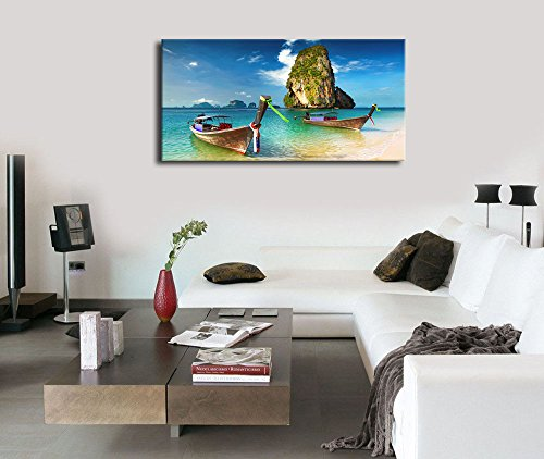 """Large Canvas Art Beach Boat Wall Decor Long Canvas Artwork Phuket Island Nature Picture Seascape Painting Contemporary Wall Art for Living Room Bedroom Bathroom Kitchen Office Home Decoration 20\""""x40\"""""""