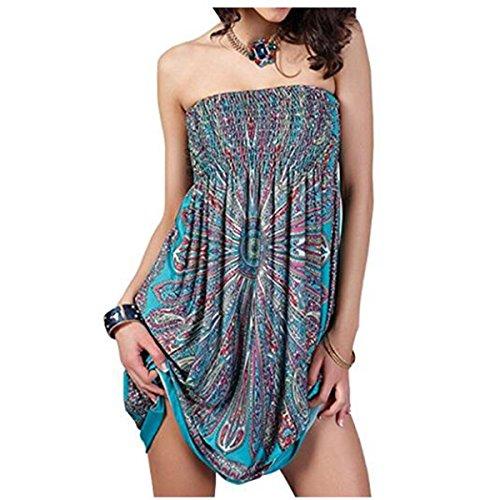 6f29bf0181 oboss Women Swimsuit Cover up Strapless Ethnic Boho Bandeau Beach Sun Dress  Bathing Suit (Style