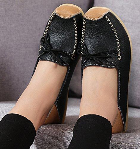 Top Low On Femmes Pompes Slip Noir Casquette Chic Mocassins Toe Aisun 0Yqgw1