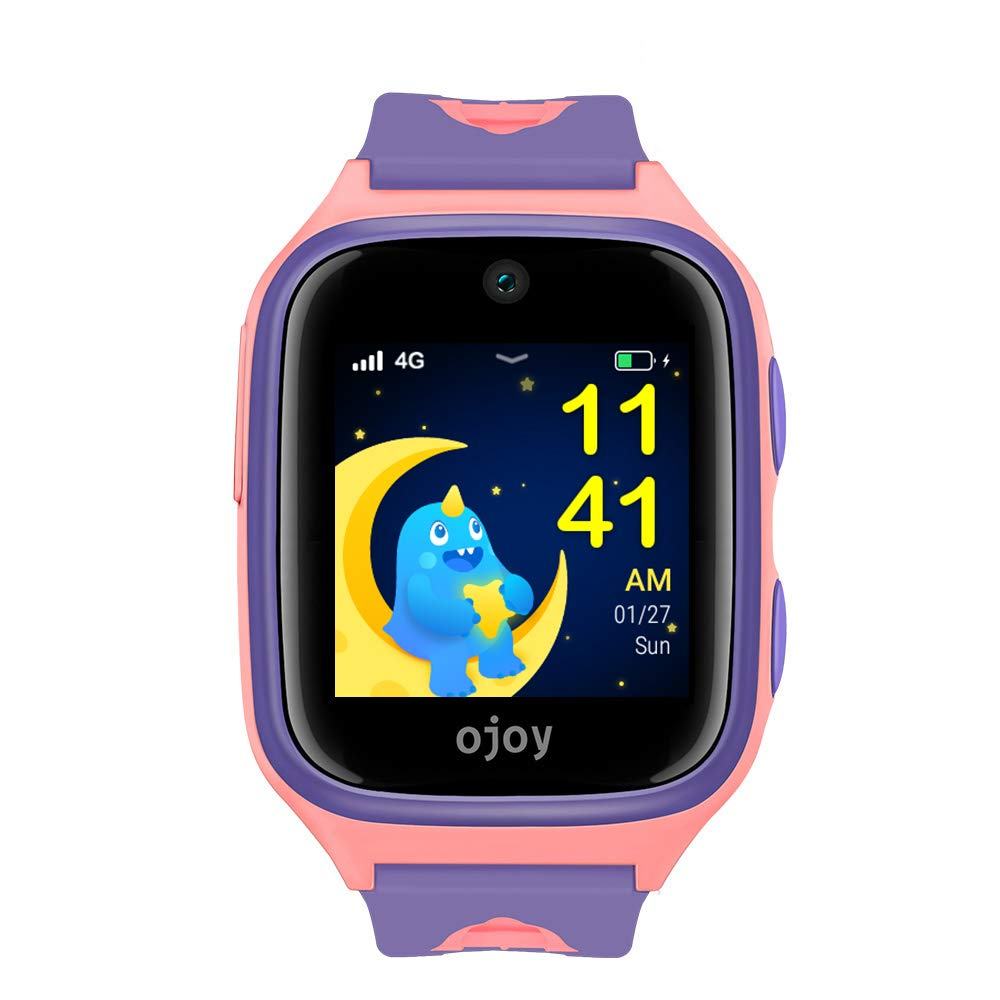 OJOY A1 Kids Smart Watch | Waterproof Smart Watch for Kids | 4G LTE Watches for Boys and Girls | Safety Gizmo Watch for Kids | Kids GPS Tracker | with iOS & Android App (Purple/Pink) - US Warranty