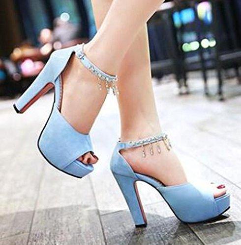 Easemax, Donna, Carina, Elegante, Con Fibbia, Plateau Con Punta Aperta, Sandali Con Tacco Alto E Cinturino Alla Caviglia Blu