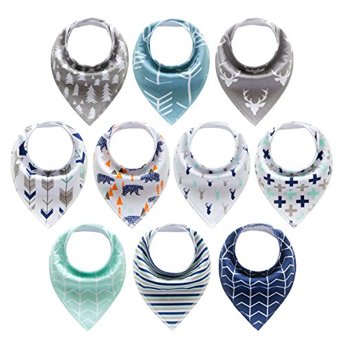10-Pack Baby Bandana Drool Bibs for Drooling and Teething Boys Girls by MiiYoung (Friendly Bib)