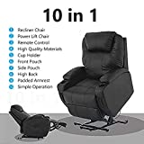 Mecor Lift Chairs for Elderly,Power Lift Recliner, Bonded Leather Lifting Sofa Chair with Remote Control,Reinforced Heavy Duty Reclining Mechanism Stand Up Recliner Chair for Living Room (Black)