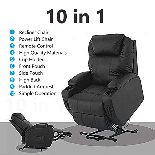 Mecor Lift Chair Recliner for Elderly,Power Lift Chair, Bonded Leather Lifting Sofa Chair with Remote Control,Reinforced Heavy Duty Reclining Mechanism Stand Up Recliner Chair for Living Room (Black)