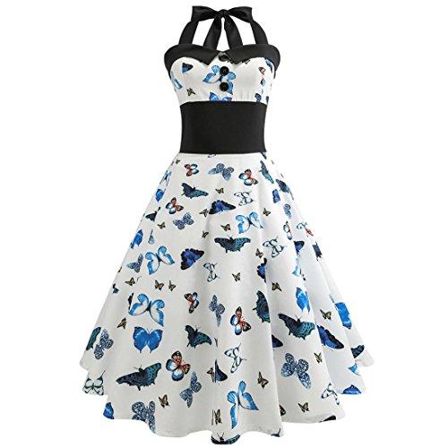 SanCanSn Fashion Vintage Printed Dress, Lady Retro Hepburn Style Halter Slim Swing Dress Bodycon Sleeveless Casual Dress (2XL, - Pony Shoe Princess Womens