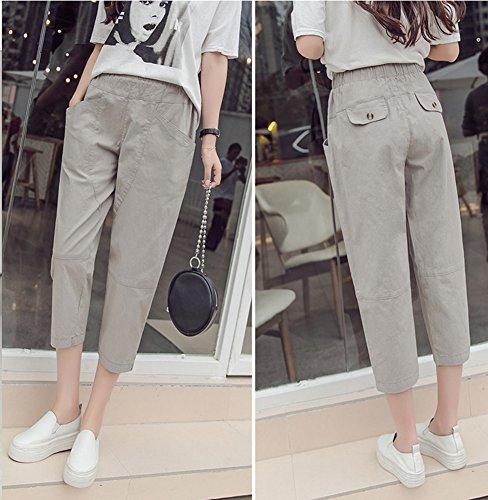 stile Estivo lino estivi donna Pantalone in con Vita chiaro con Pantaloni Grigio Runyue casual da Tasche Elastico in Pantaloni BqnSwIW610