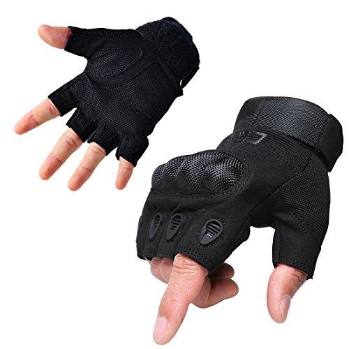 CQB Outdoor Hiking Riding Cycling Tactical Carbon Fibre Armor Men's Gloves (Fingerless Black, L)
