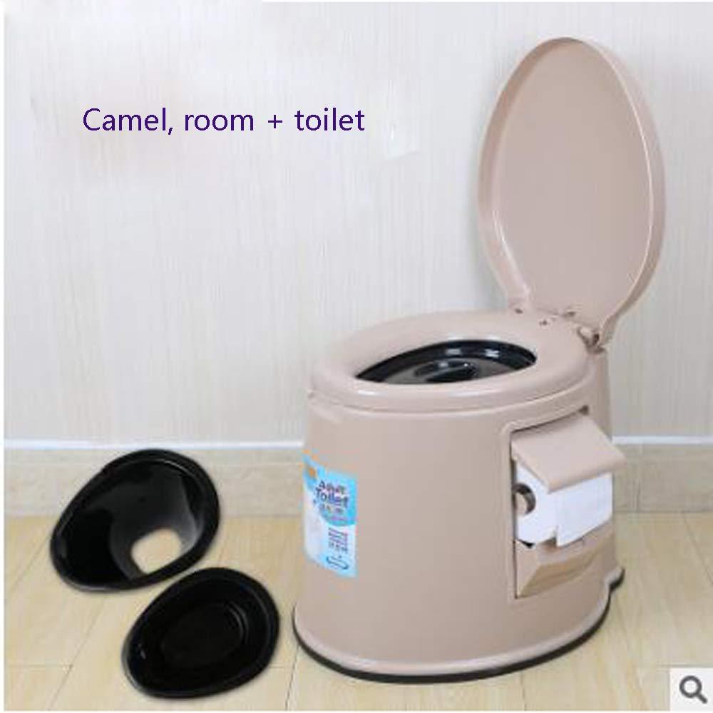 Tragbarer Toilettenpatiententoleranter Toilettensitzplastik der Älteren Frauen der Älteren Frauen Tragbarer Erwachsener,Camelb