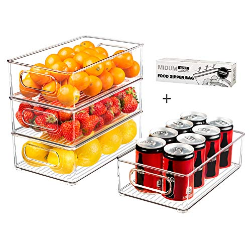 Refrigerator Organizer Bins, 4pcs Clear Plastic Stackable Fridge Containers with Handle for Freezer, Cabinet, Fridge, Kitchen Pantry Organization and Storage, BPA Free, 10