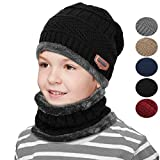 Kids Winter Knitted Beanie Hat Circle Scarf Set Slouchy Warm Outdoor Sports Hat