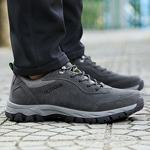 NEOKER Mens Hiking Walking Shoes Trekking Boots Outdoor Sports Low Rise Climbing Lace Up Sneaker Army Green Grey Brown 39-48 Grey d4evg