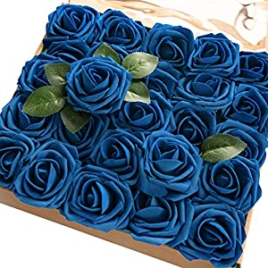 Ling's moment Artificial Flowers Royal Blue Rose 50pcs Real Looking Fake Roses w/Stem for DIY Wedding Bouquets Centerpieces Bridal Shower Party Home Decorations 25