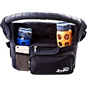 Stroller Organizer Baby Accessory - Insulated Cup Holders, Travel Parent Console Stores Bottles, Keys, Diapers, Cell Phone, Wallet - Fits All Standard, Lightweight, Jogging Strollers