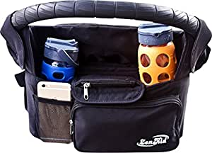 NEW YEARS SALE - Stroller Organizer Accessory With Insulated Cup Holders, Stores Bottles, Keys, Diapers, Cell Phone, Wallet - Fits All Strollers - Standard, Lightweight, Jogging - Baby Shower Gift
