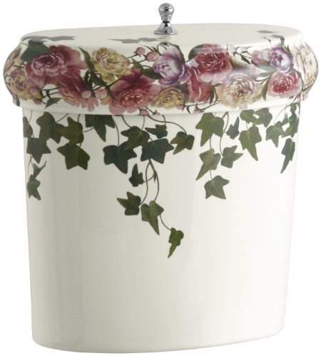 Kohler K-14279-PS-96 Peonies & Ivy Design on Revival Toilet Tank, Less Trim, Biscuit - Revival Toilet Tank